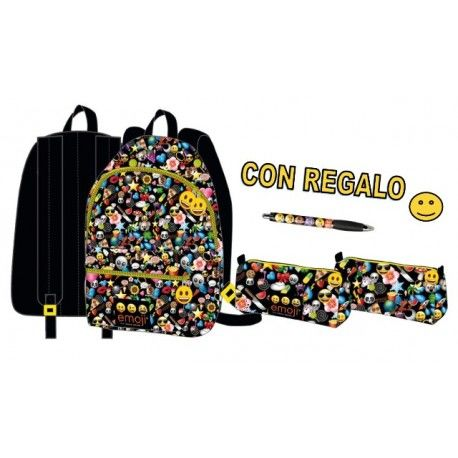 Mochila Emoticono + Estuche