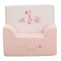 SILLON ROSA BORDADO 3 ANIMALITOS