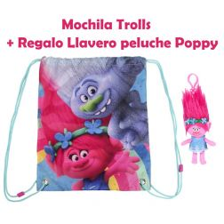 Mochila trolls + llavero Peluche