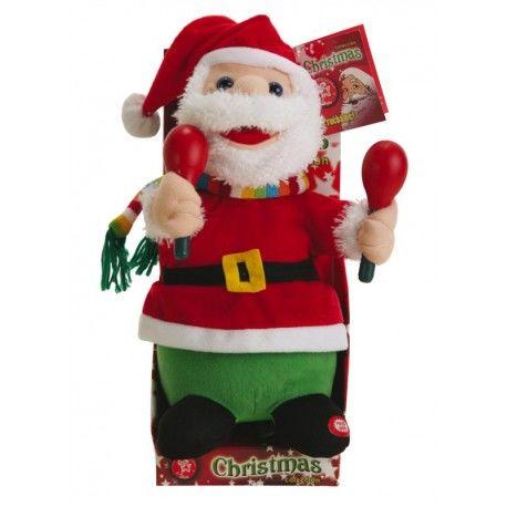 Papá Noel con maracas canta español